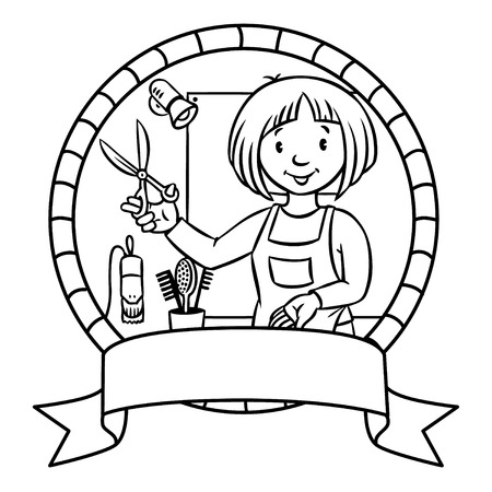 Emblem or coloring book of funny  hairdresser with scissors near the mirror in round frame with cartouche. Vettoriali