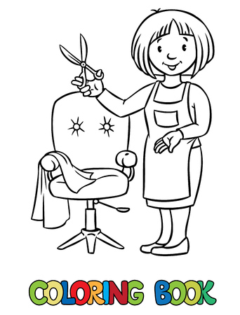 profession: Coloring book of funny woman hairdresser with scissors near the barber chair in round frame with cartouche. Profession ABC series. Illustration