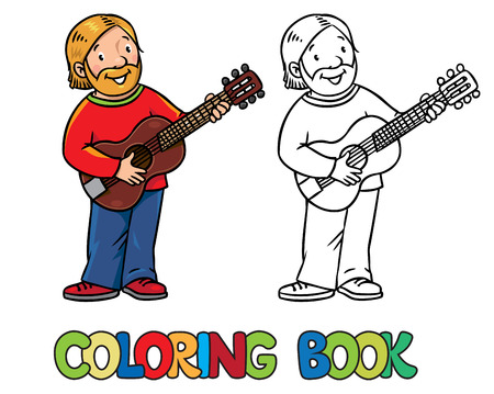 Coloring book of funny musician or guitarist or artist with guitar.
