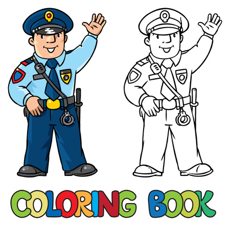 patrolman: Coloring picture or coloring book of funny policeman in uniform. Profession series.