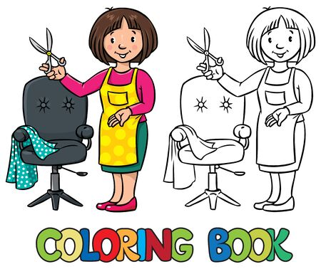 profession: Coloring book of funny woman hairdresser with scissors near the barber chair in round frame with car touche. Profession ABC series.