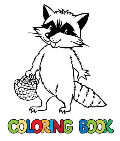 Libro De Colorante Conjunto De Mapache Divertido, Lobo, Ensacadora Y ...