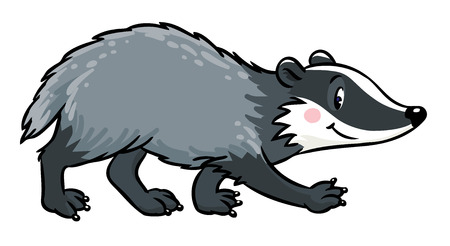 Children illustration of funny badger