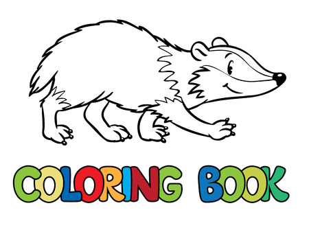 badger: Coloring book or coloring picture of funny badger or brock. Children  illustration