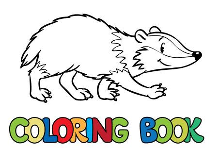 Kleurboek of kleurplaat van grappige das of Brock. kinderen illustratie