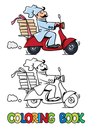 motobike: Coloring book of funny pizza chef or baker rides a scooter or motobike with boxes of pizza, like courier or delivery boy.  Children  illustration. Cartoon