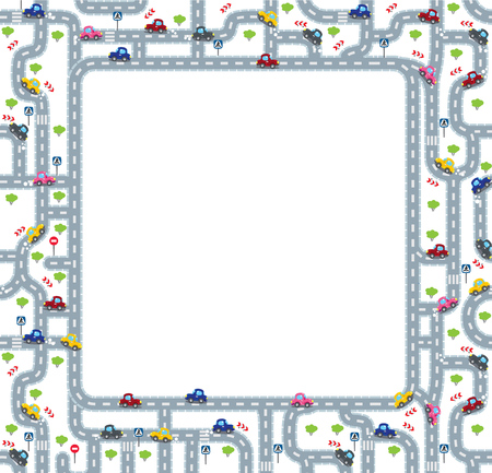 grass area: Funny frame or border of roads, grass areas and cars. Children illustration or background.