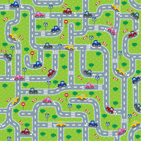 bush babies: Seamless pattern or background or labyrinth with roads, cars and traffic signs. Children illustration.