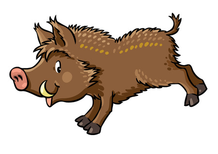ilustración vectorial de los niños jabalí saltando gracioso o cerdo salvaje.