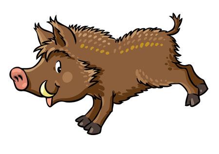 jungle jumping: Children vector illustration of funny jumping boar or wild pig. Illustration
