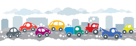 polution: Children illustration of small funny cars on the urban polluted city or gassy street road. Horizontal seamless background or pattern.