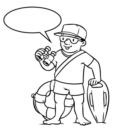 employe: Coloring picture or coloring book of lifegueard with equipment on the beach. Profession series. Children vector illustration. With balloon for text.