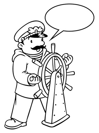 yachtsman: Coloring picture or coloring book of funny captain or sailor, or yachtsman in coat, at the helm. Profession series. Children vector illustration. With balloon for text.