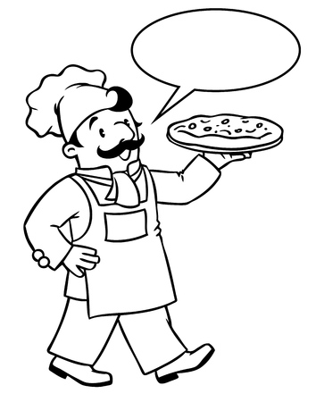 Coloring picture or coloring book of funny cook or chef or baker with pizza. Profession series. Children vector illustration. With balloon for text.
