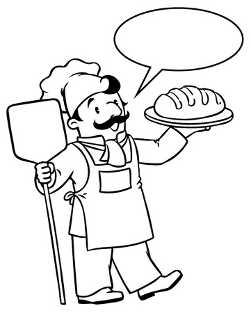 Coloring Picture Or Book Of Funny Cook Chef Baker With Bread Profession