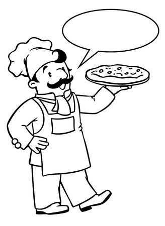 Coloring Picture Or Book Of Funny Cook Chef Baker