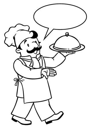 Coloring picture or coloring book of funny cook or chef with tray. Profession series. Children vector illustration. With balloon for text.