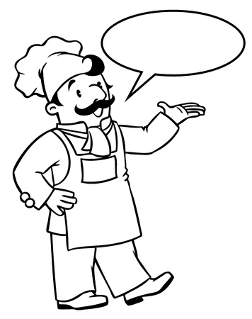 Coloring picture or coloring book of funny cook or chef. Profession series. Children vector illustration. With balloon for text Illustration