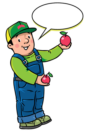 Children vector illustration of funny farmer or gardener in overall and baseball cap with apples in his hands. Profession series. With balloon for text.