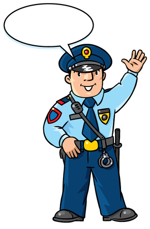 baton: Children vector illustration of funny policeman in uniform waving by hand. Profession series. With balloon for text. Illustration
