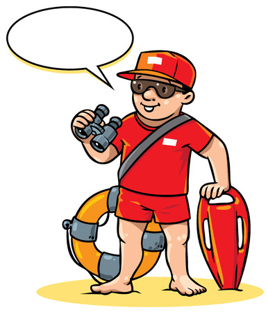 employe: Children vector illustration of lifegueard with equipment on the beach. Profession series. With balloon for text.