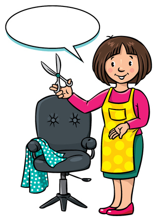 balloon woman: Children vector illustration of funny woman hairdresser with scissors near the barber chair. Profession ABC series. With balloon for text.