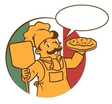 discreet: Emblem of funny cook or chef or baker with pizza on background colors of the Italian flag. Children vector illustration in low or discreet colors. With balloon for text.