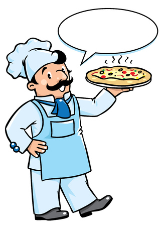 Children vector illustration of funny cook or chef with pizza. Profession series. With balloon for text