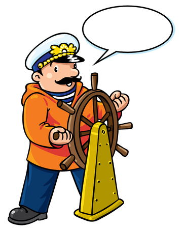 captain cap: Children vector illustration of funny captain or sailor, or yachtsman in coat, at the helm. Profession series. With balloon for text Illustration