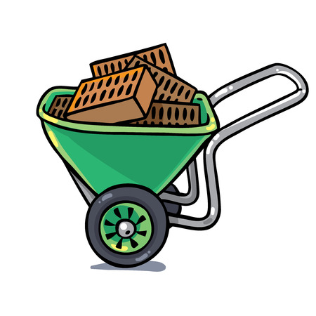 green construction: Green construction workers cart or truck with bricks. Profession series. Childrens vector illustration.