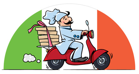 delivery boy: Funny pizza chef or baker rides a scooter or motobike with boxes of pizza, like courier or delivery boy. On the semicircle background in colors of Italian flag. Vector illustration. Cartoon