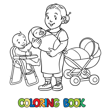 sitter: Coloring book of funny nanny with a baby and another on the highchair near the stoller. Profession ABC series. Children vector illustration.