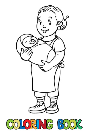 pinafore: Coloring book of funny smiling nanny or mother with a baby. Profession ABC series. Children vector illustration. Illustration