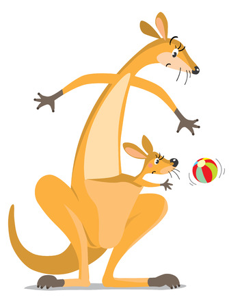 Childrens vector illustration of funny wondering or surprised kangaroo looking down on colorful ball, and kangaroo baby in the pouch. Illustration