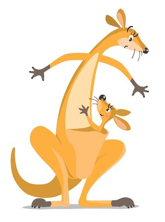 Childrens vector illustration with funny surprised mother kangaroo and kangaroo baby in the pouch, waving by hand Illustration