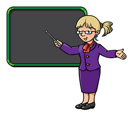 Children vector illustration of of funny teacher with the pointer in a violet suit at the blackboard. Profession series.