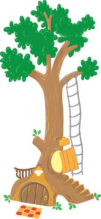 fairy tree: Children vector illustration of great fairy tree with owls hollow and rabbits hole