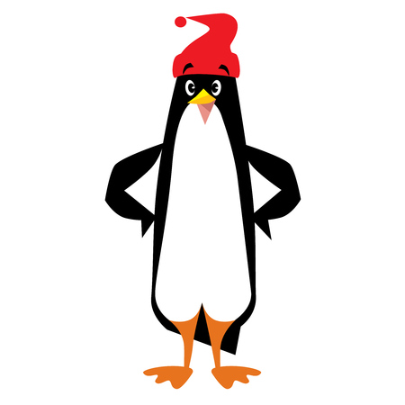 pompom: Children vector illustration of funny penguin in beanie or cap with pompom or bobble