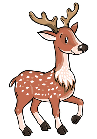 fawn: Children vector illustration of young deer or fawn