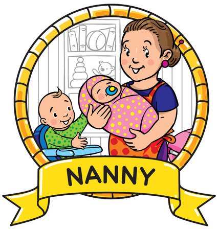 sitter: Emblem of funny smiling woman, mother or nanny with a baby and another one on the highchair. Profession ABC series. Children vector illustration Illustration