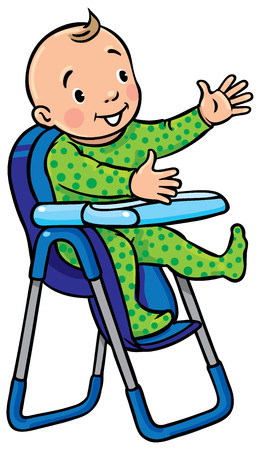 Children vector illustration of funny smiling baby boy or girl in rompers in the highchair. Illustration