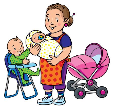 어린이 재미 있은 어머니 또는 보모 및 아기와 다른 stoyler 근처의 높은 의자에 벡터 일러스트 레이 션. 직업 ABC 시리즈입니다.