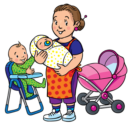 sitter: Children vector illustration of funny mother or nanny with a baby and another on the highchair near the stoller. Profession ABC series. Illustration