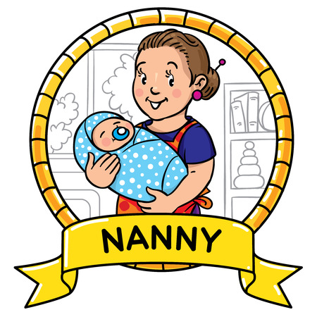 nanny: Emblem of funny smiling nanny or mother with a baby. Profession ABC series. Children vector illustration.