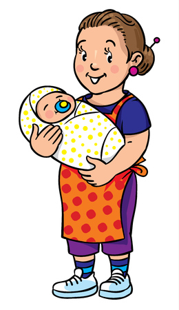 sitter: Coloring book of funny smiling nanny or mother with a baby. Profession ABC series. Children vector illustration. Illustration