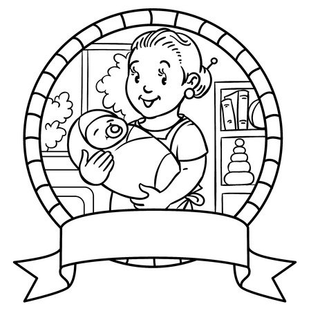 pinafore: Emblem of funny smiling mother or nanny or mother with a baby. Profession ABC series. Children vector illustration. Illustration