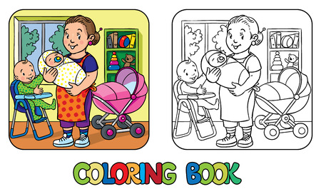 nanny: Coloring book of funny nanny with a baby and another on the highchair near the stoller. Profession ABC series. Children vector illustration.