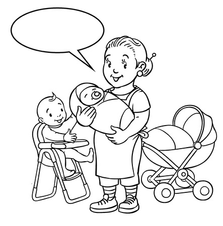 highchair: Coloring book of funny smiling woman, mother or nanny with a baby and another one on the highchair near the stroller. Profession ABC series. Children vector illustration. With balloon for text.