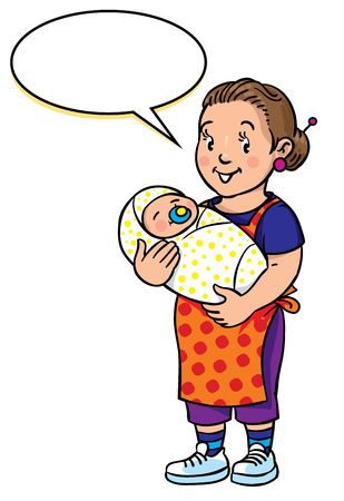 sitter: Children vector illustration of funny smiling woman, nanny or mother with a baby. Profession ABC series. With balloon for text. Illustration