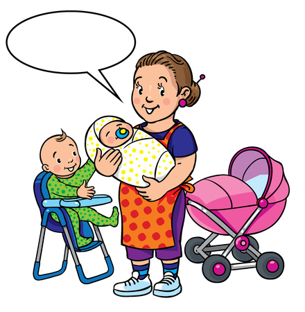 highchair: Children vector illustration of funny smiling woman, mother or nanny with a baby and another one on the highchair near the stroller. Profession ABC series. With balloon for text.